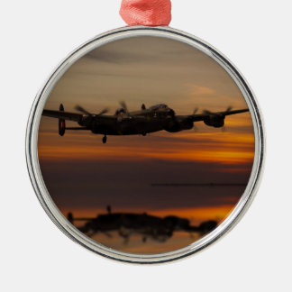 lancaster Bomber the home stretch Silver-Colored Round Decoration