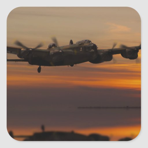 lancaster Bomber the home stretch Square Stickers