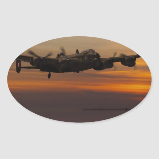 lancaster Bomber the home stretch Oval Stickers