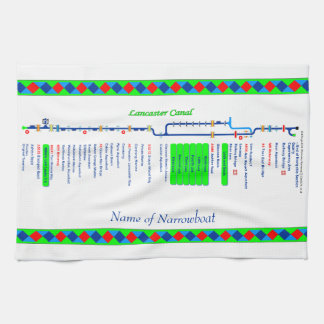 Lancaster Canal UK Inland Waterways Route Green Tea Towel