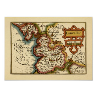 """Lancaster"" Lancashire County Map Poster"