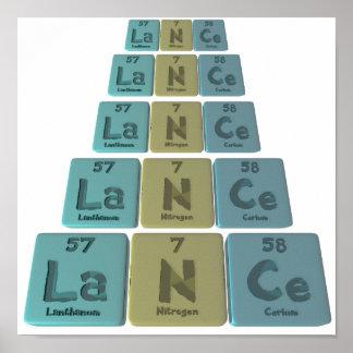 Lance as Lanthanum Nitrogen  Cerium Posters