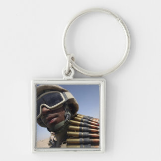 Lance Corporal waits for his turn Silver-Colored Square Key Ring