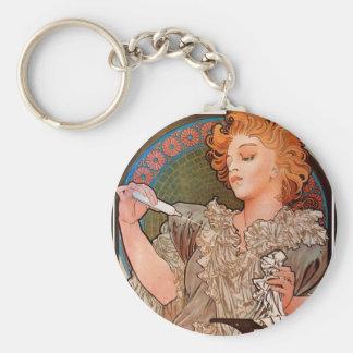 Lance parfum Rodo by Alphonse Mucha Basic Round Button Key Ring