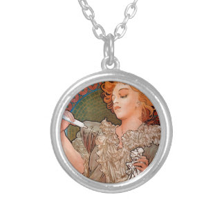 Lance parfum Rodo by Alphonse Mucha Round Pendant Necklace