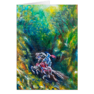 LANCELOT RIDING IN GREEN FOREST GREETING CARD