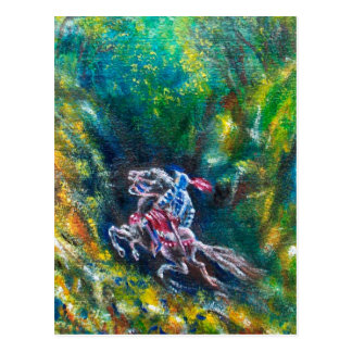 LANCELOT RIDING IN GREEN FOREST POSTCARD