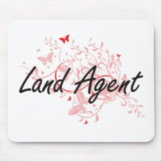 Land Agent Artistic Job Design with Butterflies Mouse Pad
