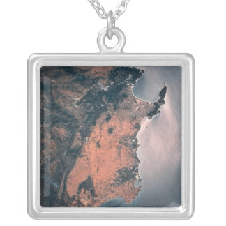 Land and Sea from Space 3 Silver Plated Necklace
