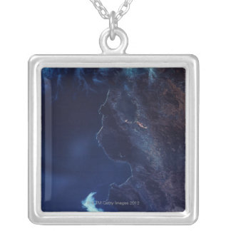 Land and Water from Satellite Silver Plated Necklace
