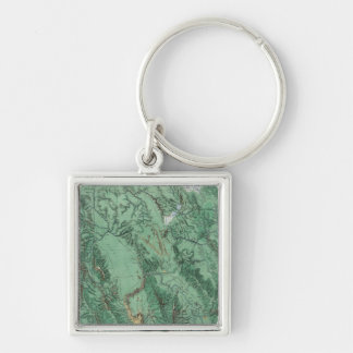 Land Classification Map of Idaho Silver-Colored Square Key Ring