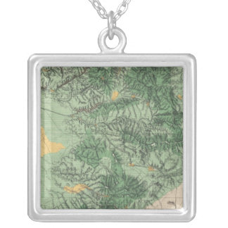 Land Classification Map of Southern California Silver Plated Necklace