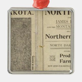 Land Grant of North Dakota Silver-Colored Square Decoration