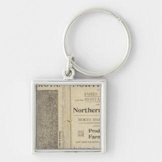 Land Grant of North Dakota Silver-Colored Square Key Ring
