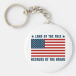 Land of the Free American Flag Keychain