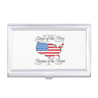 Land of the Free because of the Brave Patriotic US Business Card Holder