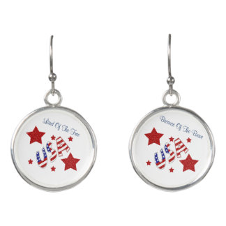 Land of the Free Because of the Brave USA Earrings