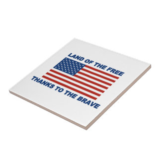 Land Of The Free Thanks To The Brave Small Square Tile