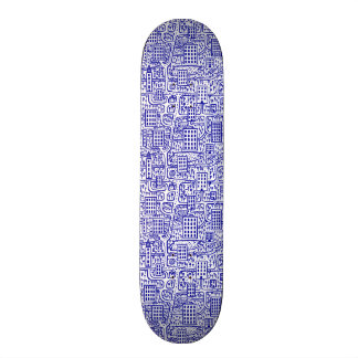 Land of Towers - Navy Blue on White 20 Cm Skateboard Deck
