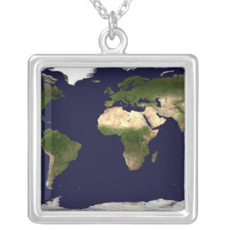 Land Surface, Shallow Water, and Shaded Topogra Silver Plated Necklace