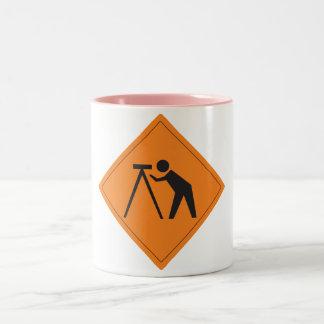 Land Surveyor at Work Sign Pink Mug