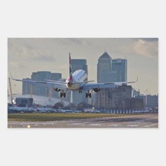 Landing at London City airport Rectangular Sticker