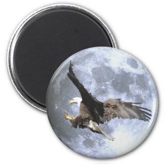 Landing BALD EAGLE & FULL MOON Wildlife Magnet