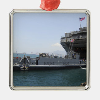 Landing Craft Utility moving into position Silver-Colored Square Decoration