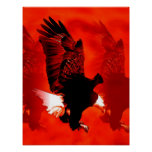 Landing Eagle Poster Print - Red Eagle Posters