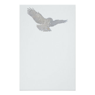 Landing Great Grey Owl Wildife Photo Art Customized Stationery