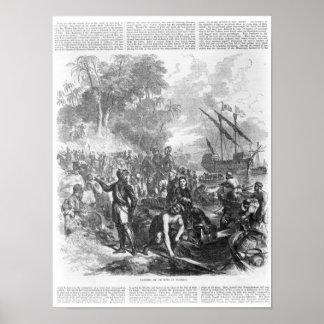 Landing of De Soto in Florida Poster