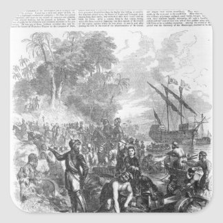 Landing of De Soto in Florida Square Sticker