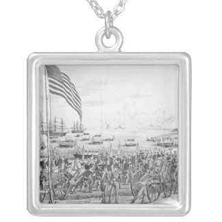 Landing of the Troops at Vera Cruz, Mexico Silver Plated Necklace