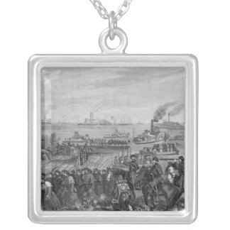 Landing of troops on Roanoke Island Silver Plated Necklace