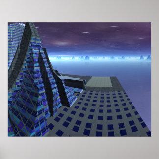 Landing Pad Gingezel Art Center Sci Fi Landscape Poster