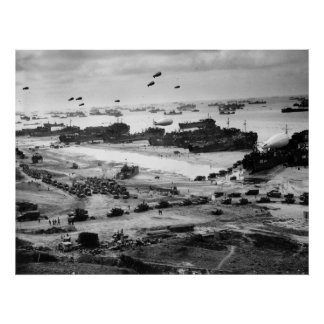 Landing Ships Putting Cargo Ashore on Omaha Beach Poster