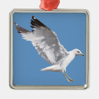 Landing White Sea Gull Wildlife Birdlover Gift Square Metal Christmas Ornament
