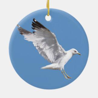 Landing White Sea Gull Wildlife Birdlover Gift Round Ceramic Decoration