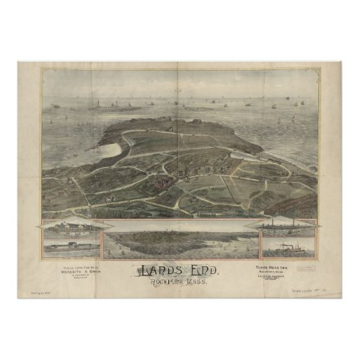 Lands End Mass. 1880s Antique Panoramic Map Print