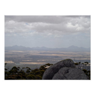 Landscape against cloudy sky posters