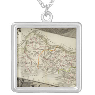 Landscape and towns silver plated necklace