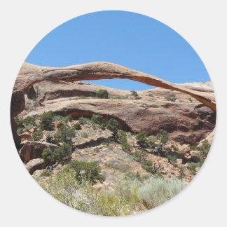 landscape arch round sticker