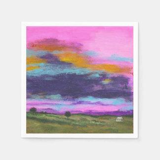 Landscape Art Painting Pink Sunset Tiny Farm House Disposable Serviette