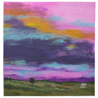 Landscape Art Painting Pink Sunset Tiny Farm House Napkin