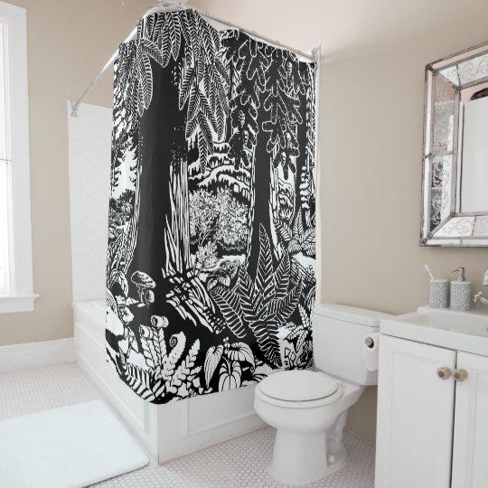 Landscape Art Shower Curtain B & W Forest