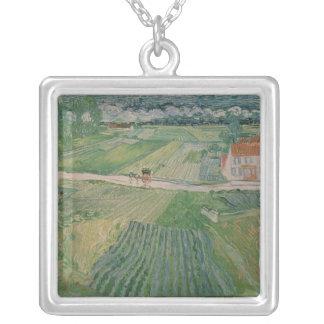 Landscape at Auvers after the Rain, 1890 Square Pendant Necklace