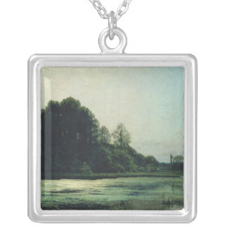 Landscape at Cernay, 1866 Silver Plated Necklace