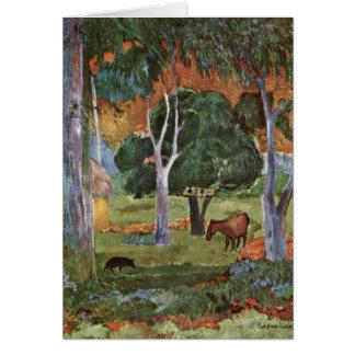 Landscape At La Dominique By Paul Gauguin Greeting Card