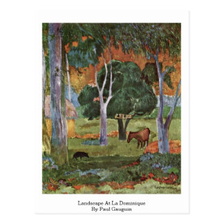 Landscape At La Dominique By Paul Gauguin Postcard