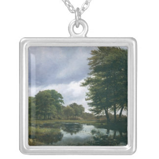 Landscape at Silkeborg, 1833 Silver Plated Necklace